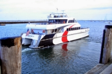 photo of the fast ferry boat leaving Provincetown on its way to Boston