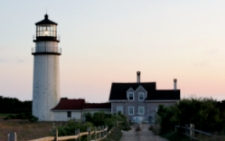 photo Highland Light showing Cape Cod's oldest active lighthouse in North Truro, MA
