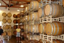 photo from inside the Truro Vineyards showing the wine barrels being aged