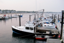 photo of Cape Cod fishing boats along MacMillan Wharf in Provincetown