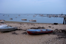 photo of weathered boats anchored along the bayside beach in Provincetown, MA
