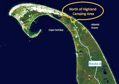 Satellite image showing the location of North of Highland Camping Area's ideal destination for camping on Cape Cod near the beach