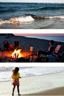 three photos from Cape Cod beaches, including a Cape Cod beach fire, a girl walking along the Cape Cod shore and a boy surfing the waves