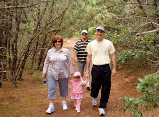 photo of family walking along the path to the beach on Cape Cod