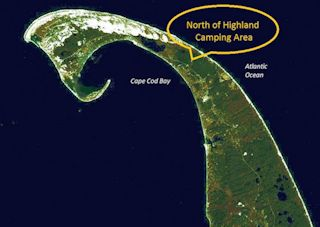 aerial satellite photo of Cape Cod showing North of Highland Camping on Cape Cod, MA