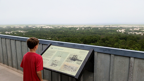 The view overlooking the Cape Cod National Seashore landscape from the observation deck at Provincelands Cape Cod Bike Trail
