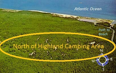 aerial photo over the Cape Cod National Seashore camping location for North of Highland Camping Area - showing proximity to Cape Cod beaches