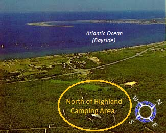 aerial photo showing North of Highland Camping Area surrounded by the Cape Cod National Seashore camping area is highlighted with the tip of Cape Cod in the background